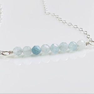 Minimalist Aquamarine Charm Silver Choker Necklace
